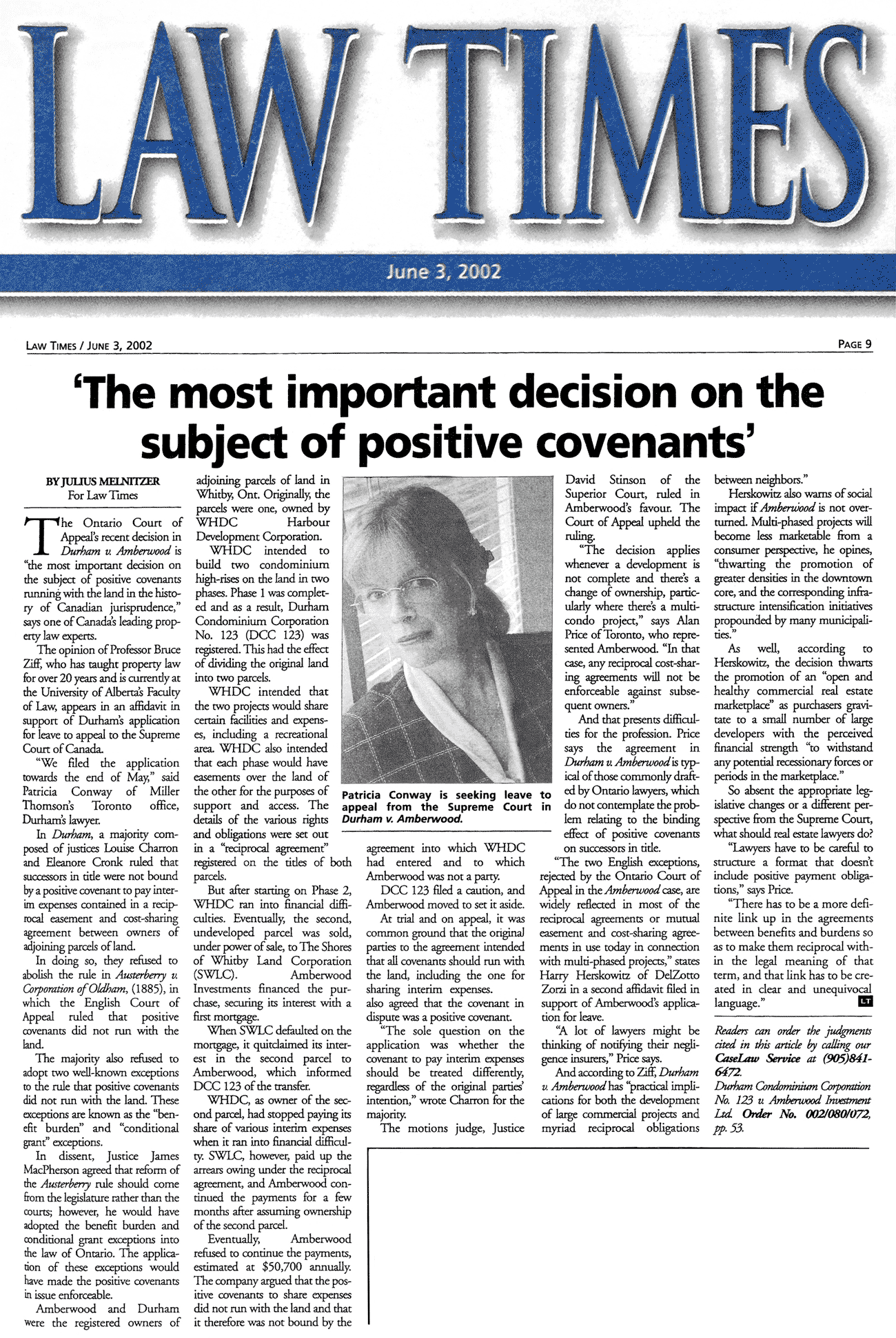 Law Times 2002-06-03 - Simm co-counsel for winning party in Amberwood in Ont.C.A.
